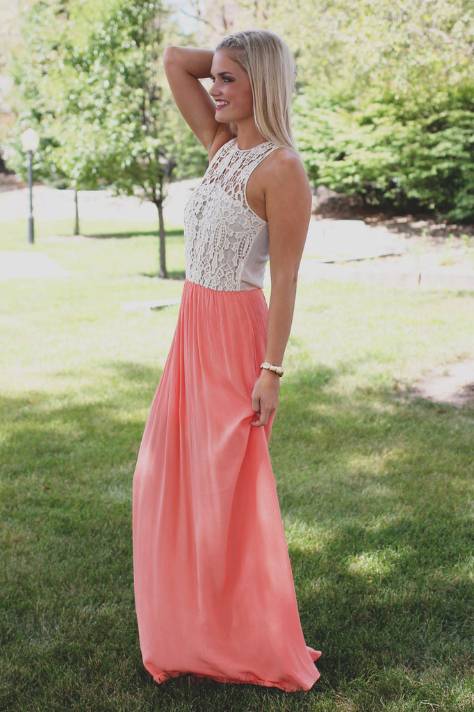 Coral Crochet Detail Keyhole Back Sleeveless Maxi Dress