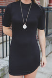 Black Half Sleeve Mock Neck Round Hem Bodycon Dress