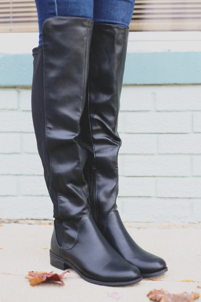 Faux Leather Round Toe Over the Knee Boots Twisty