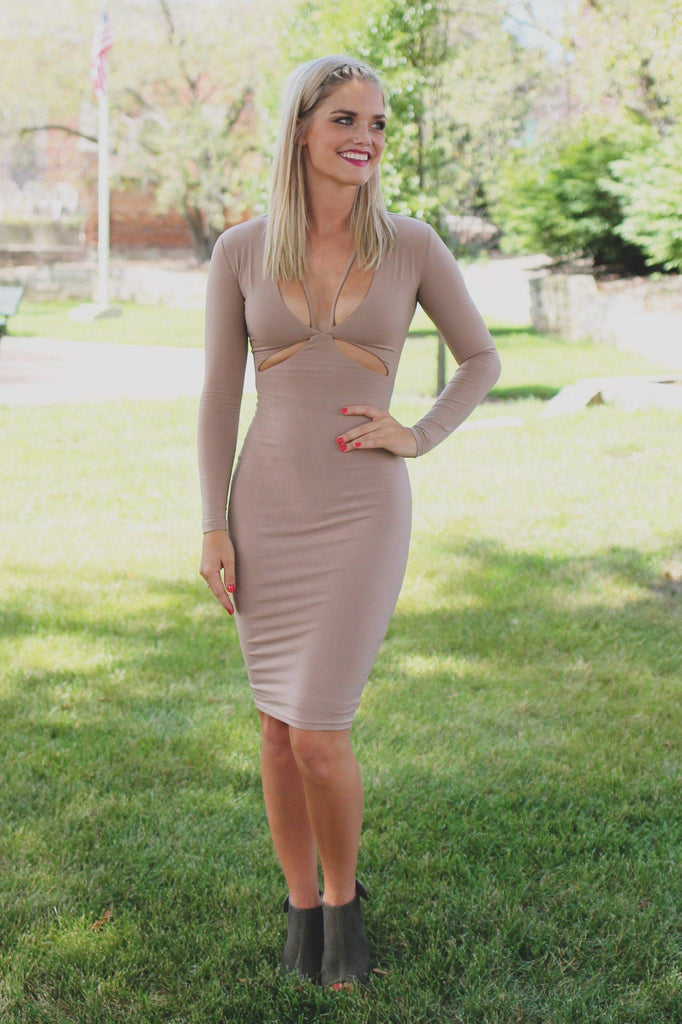 Long Sleeve Deep V-neck Cut Out Strappy Midi Dress