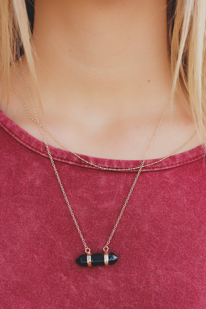 Black Crystal Charm Layer Dainty Necklace