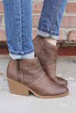 Taupe Faux Leather Perforated Booties Zora-05