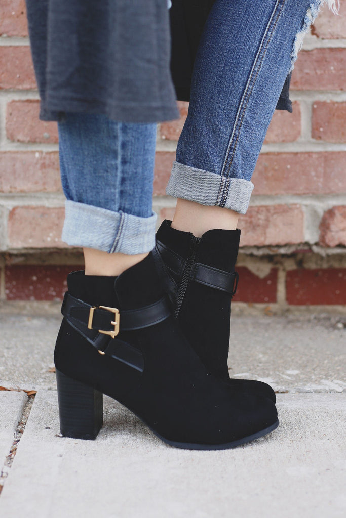 Black Faux Suede Wrapped Buckle Ankle Booties Jessica-03