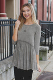 Olive Mineral Wash 3/4 Sleeve Round Neck Babydoll Top