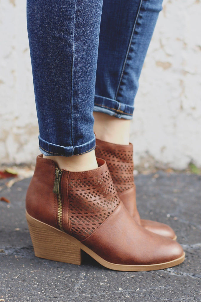 Cognac Faux Leather Perforated Booties Zora-05