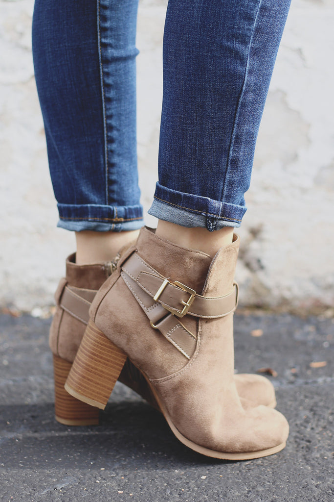 Taupe Faux Suede Wrapped Buckle Ankle Booties Jessica-03