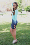 Long Sleeve Round Neck Dip Dye Tunic Dress