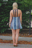 Mix Print V-neck Crochet Ladder Back Shift Dress