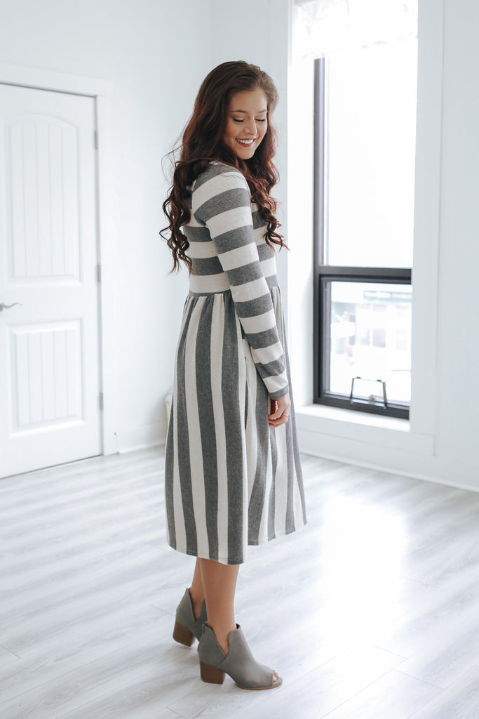 Long Sleeve Striped Midi Dress - Online Clothing Boutique