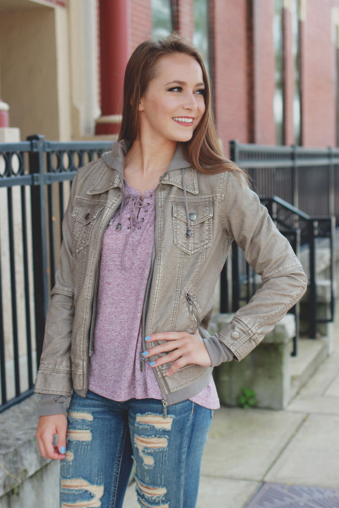 Taupe Vegan Leather Ribbed Cuff Hooded Moto Jacket