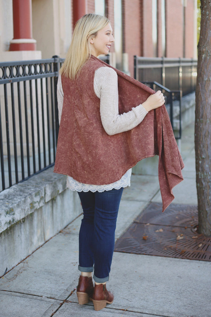 Cinnamon Sleeveless Draped Asymmetrical Hem Vest