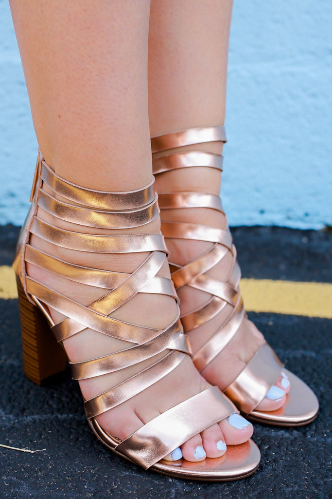 Rose Gold Faux Leather Strappy Block Heels Morgan-26