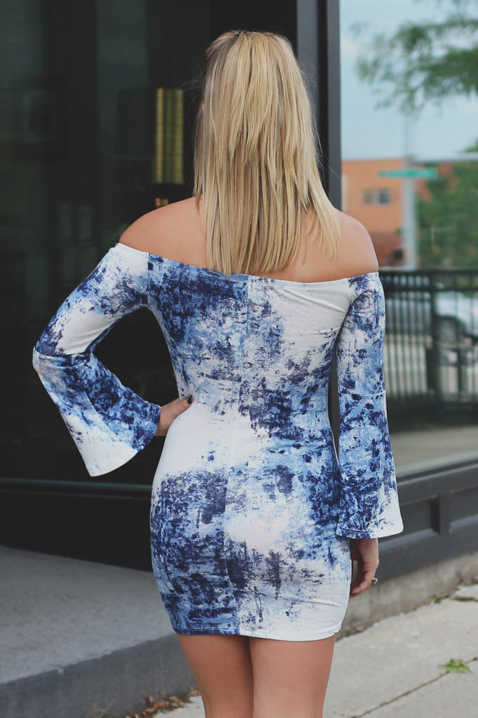Off the Shoulder Long Flared Sleeve Bodycon Dress