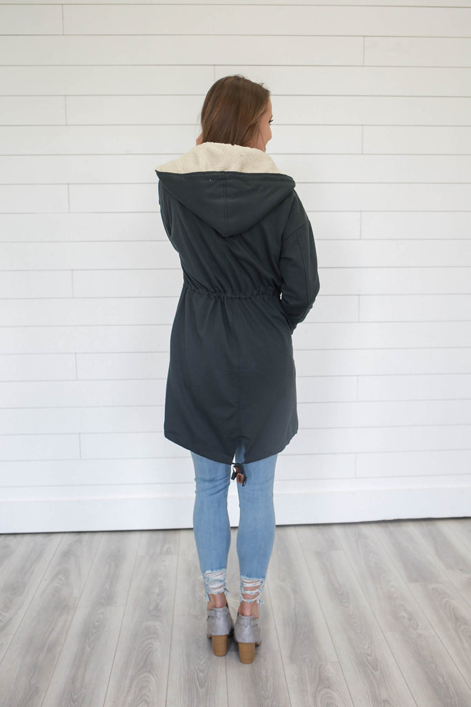 Charcoal Grey Coat - Online Clothing Boutique