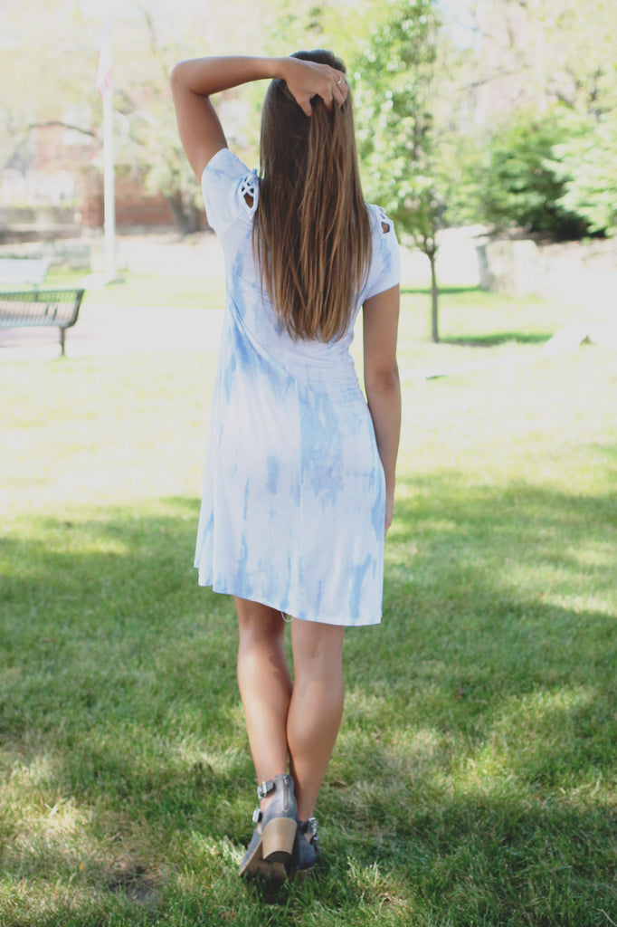 Tie Dye Round Neck Criss Cross Sleeve Detail Dress
