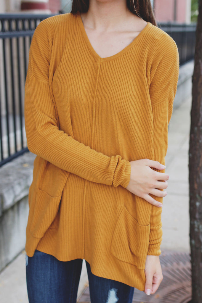 Mustard Long Sleeve V-neck Front Pockets Ribbed Sweater