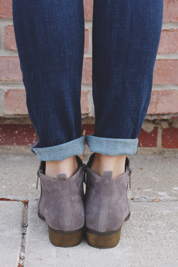 Grey Faux Suede Almond Toe Booties Austin-12