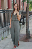 Mineral Washed Deep V Faux Wrap Short Sleeve Jumpsuit