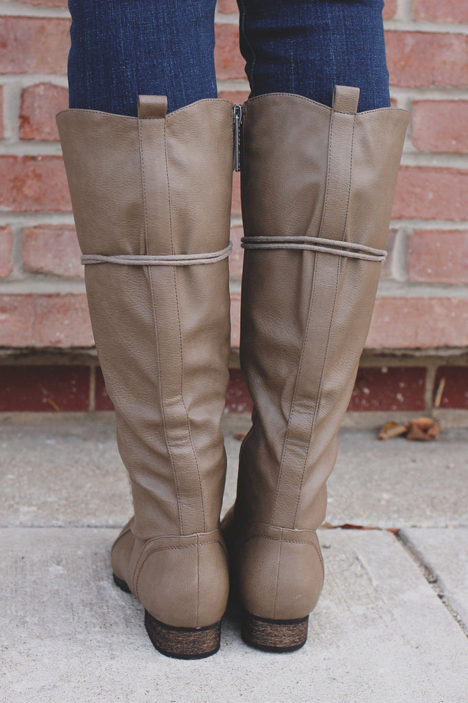 Taupe Lace Up Round Toe Military Boots Outlaw-13