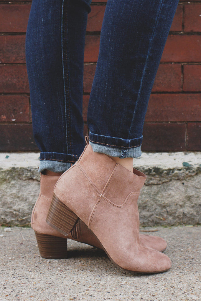 Sand Faux Suede Almond Toe Ankle Bootie Seattle-21