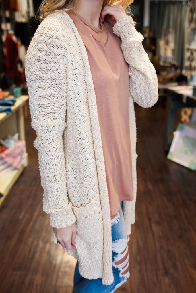 Long Sleeve Two Toned Open Front Ribbed Knit Cardigan