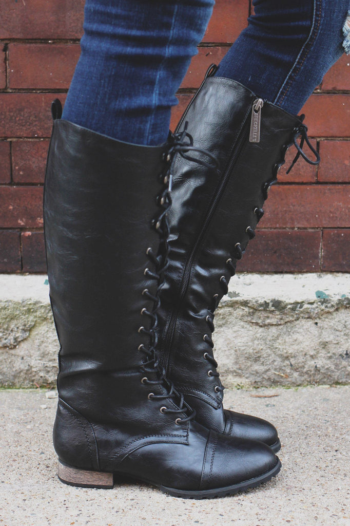 Black Lace Up Round Toe Military Boots Outlaw-13