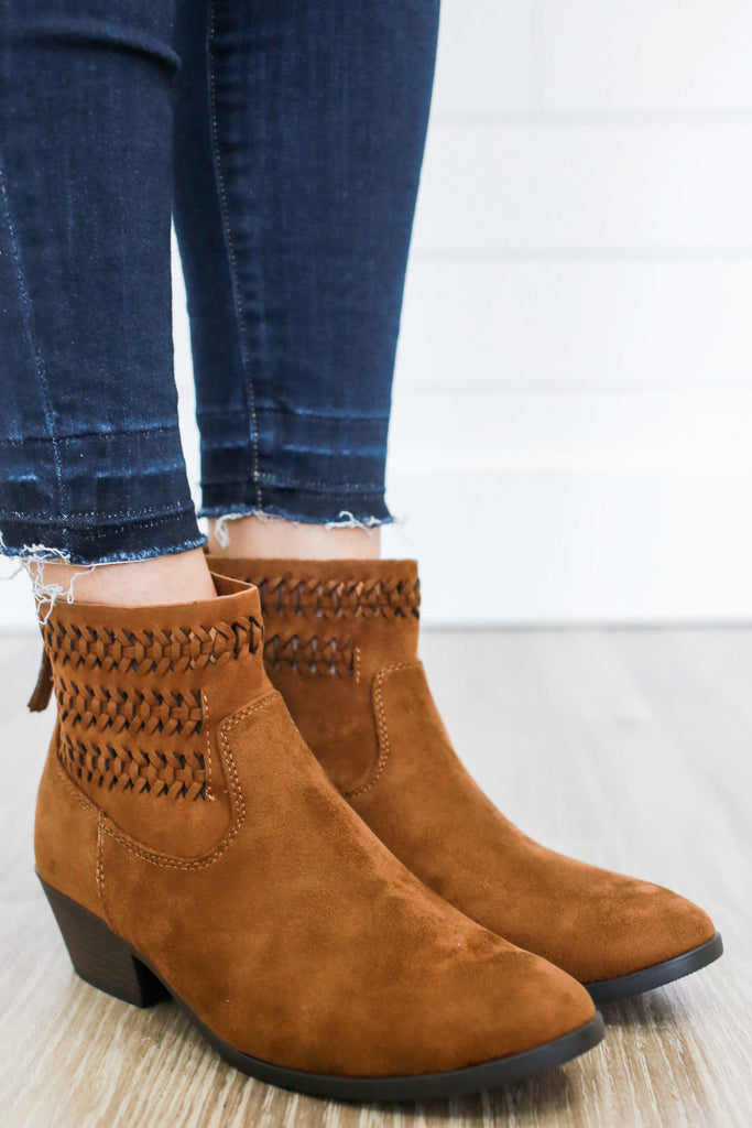 Peyton-S Faux Suede Ankle Booties - Online Clothing Boutique