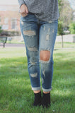 Medium Wash Boyfriend Fit Distressed Denim