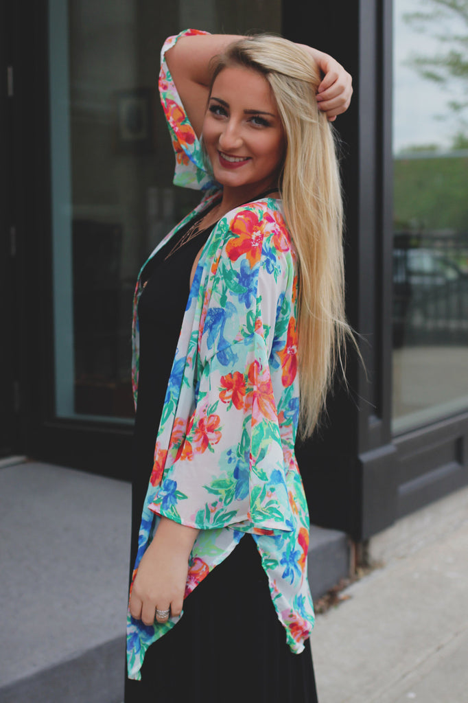 Watercolor Dropped Shoulders Flared Sleeve Kimono