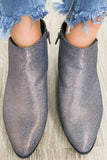 Muni-12 Metallic Pointed Toe Ankle Booties - Online Clothing Boutique