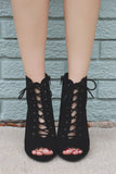 Faux Suede Ankle Lace Up Cut Out Booties Naomi-S