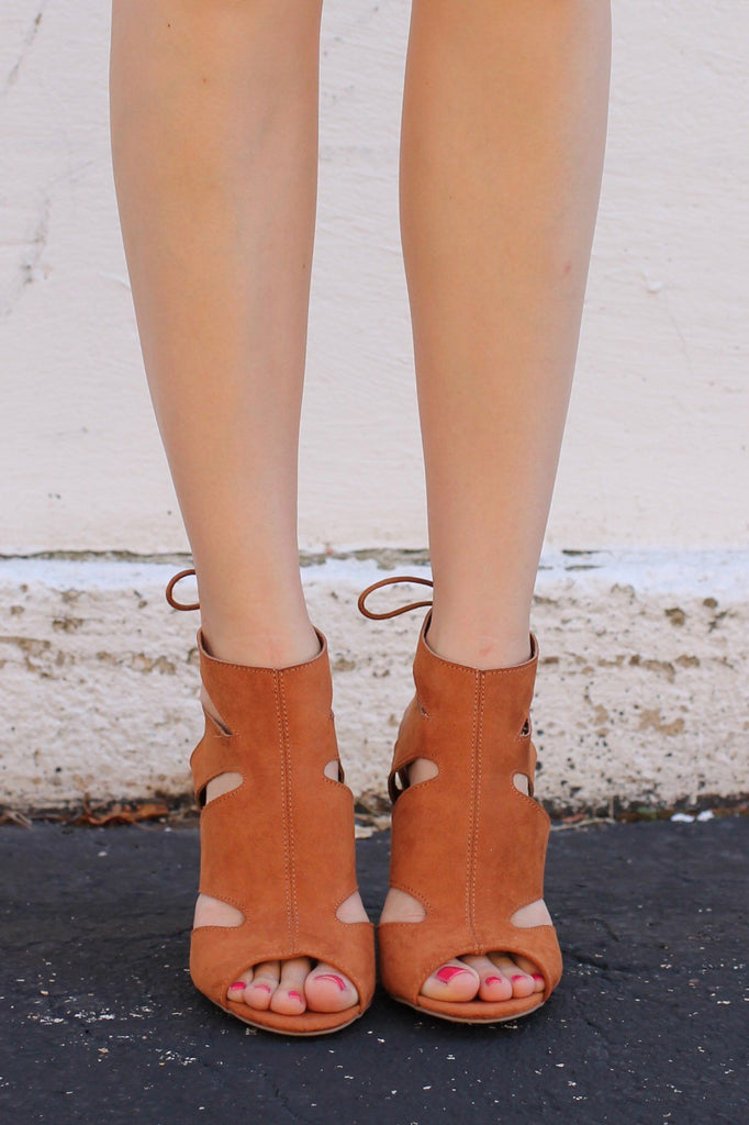 Camel Peep Toe Cutout Ankle Laceup Back Heel Luciana-80
