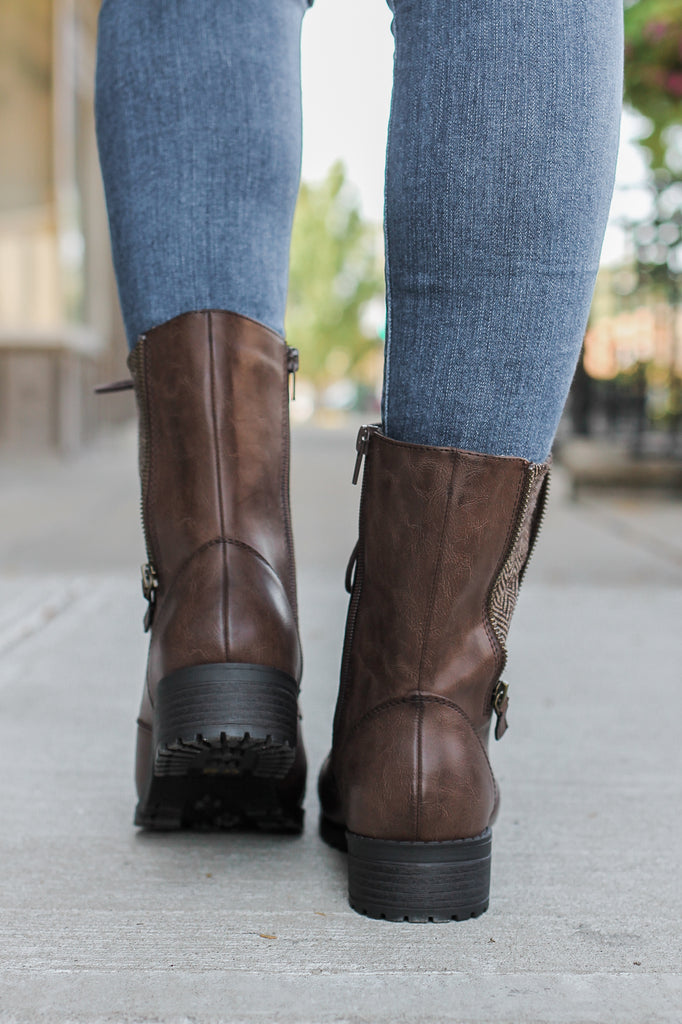 Brown Faux Leather Combat Boots - Online Clothing Boutique