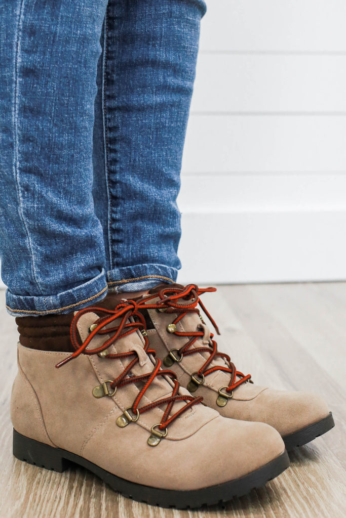 Wyatte-78 Faux Suede Hiking Boots - Online Clothing Boutique