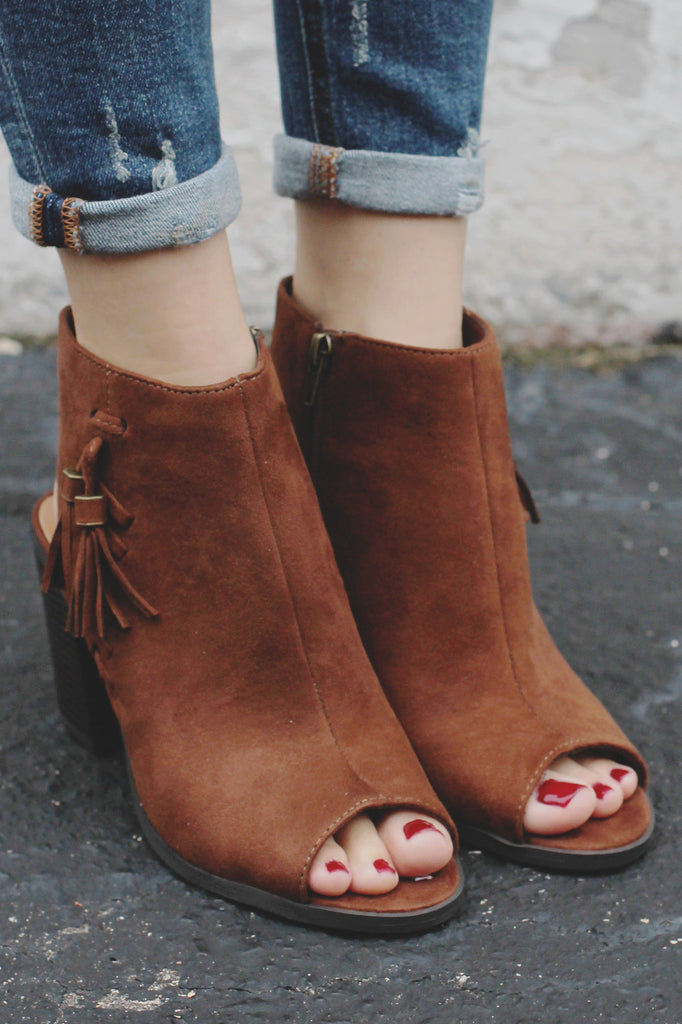 Faux Suede Peep Toe Ankle Cut Out Booties Ecoya-S