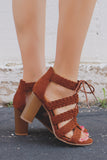 Braided Strappy Lace Up Wooden Block Heels Lucite-84A