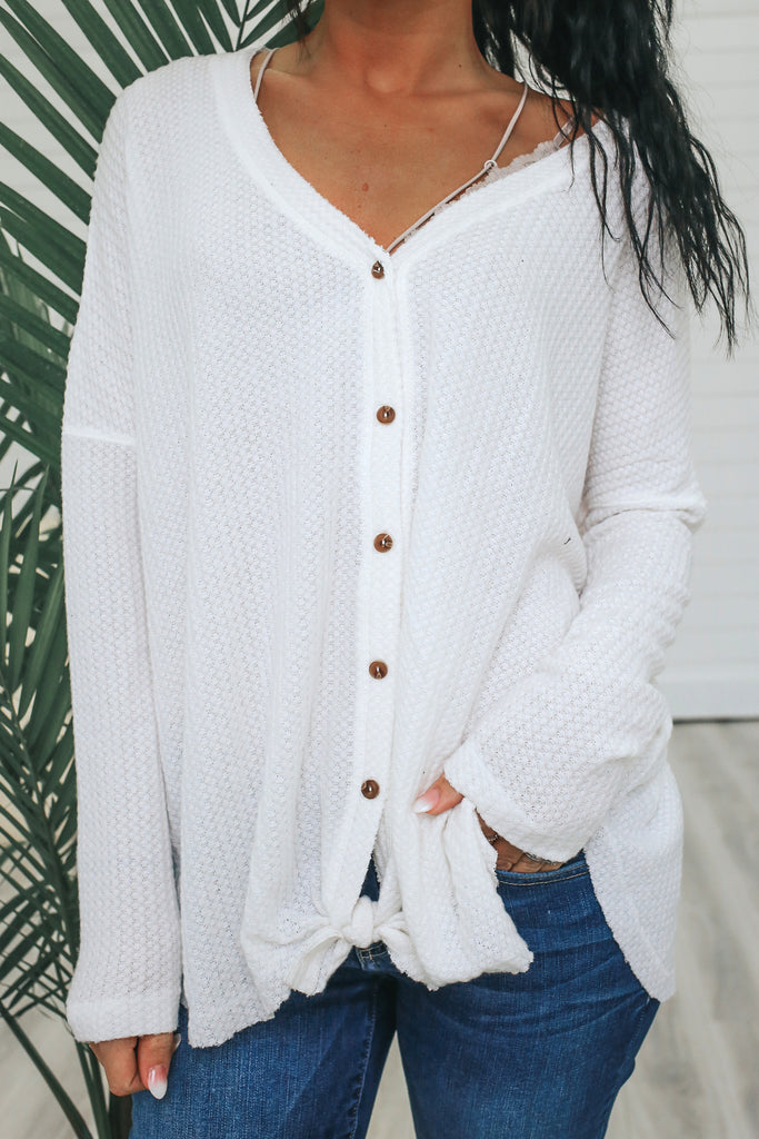 Long Sleeve Waffle Knit Button Up Top - Online Clothing Boutique