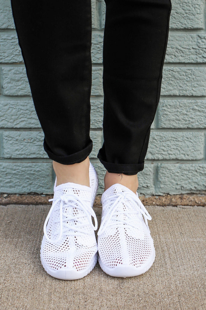 White Open Knit Lace Up Front Sneakers Reckless-02x