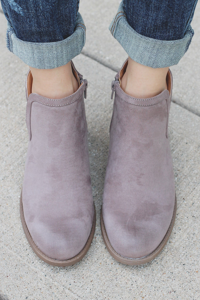Taupe Round Toe Ankle Cut Out Booties Philly-09