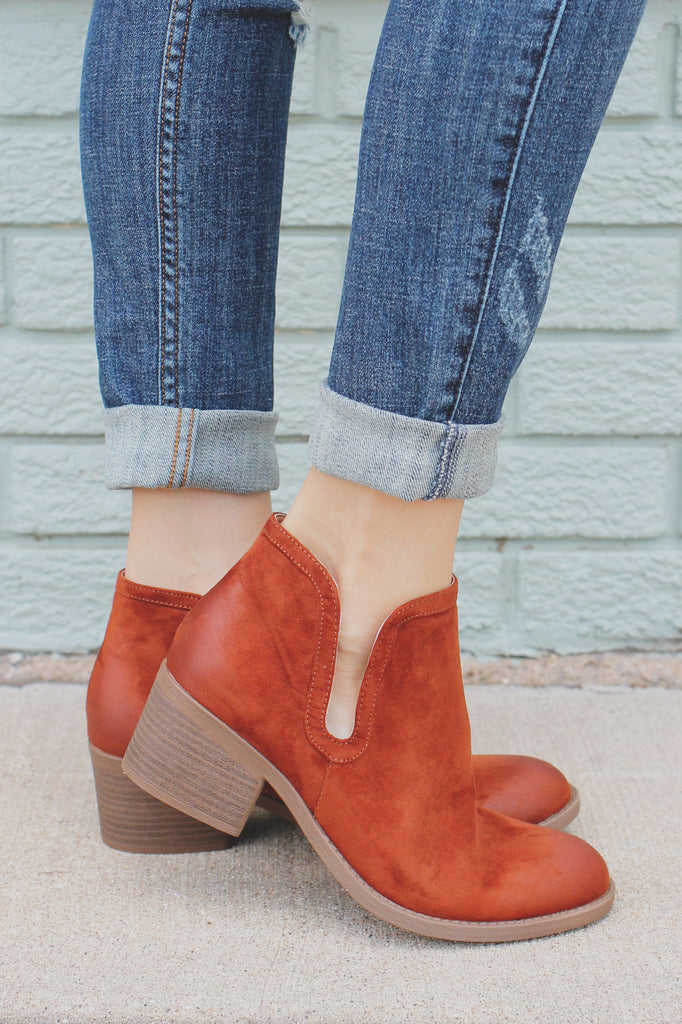 Camel Round Toe Ankle Cut Out Booties Philly-09