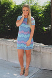 Pastel Chevron Lace Short Sleeve Round Neck Dress