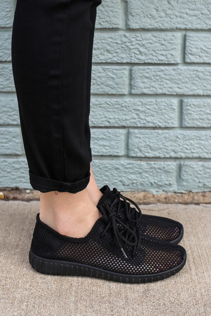Black Open Knit Lace Up Front Sneakers Reckless-02x