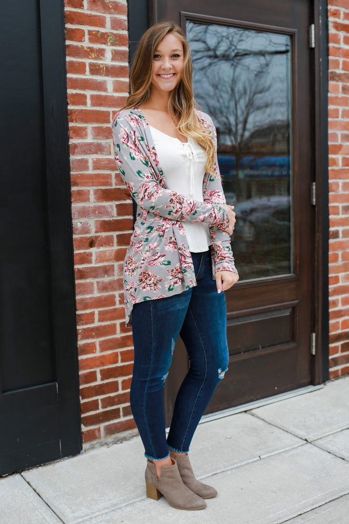 Long Sleeve High Low Open Front Floral Print Cardigan