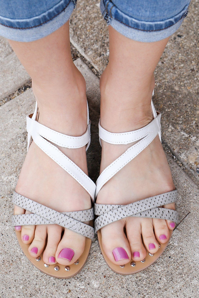 Faux Leather Criss Cross Straps Sandals Archer-371
