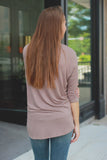 Taupe 3/4 Dolman Sleeve Round Neck Top