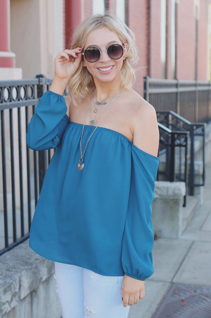 Long Sleeve Off the Shoulder Semi Sheer Top