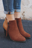 Two-tone Zipper Detail Stacked Heel Booties Ages-S