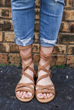Faux Suede Strappy Gladiator Style Flat Sandals Hurry-s