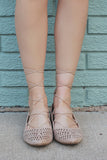 Sand Pointed Toe Wrapped Ankle Flats Pippa-164