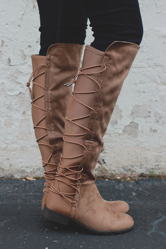 Faux Suede Lace Up Back Round Toe Riding Boots Oksana-118
